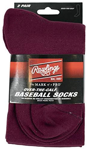 Rawlings Baseballsocken, 2 Paar, Unisex-Erwachsene Herren, Baseball Socks 2 Pair (Large/Maroon), kastanienbraun, Large