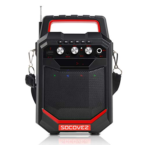 SOCOVEZ Bluetooth Speaker with 15W Subwoofer, Portable Speaker Support Remote Control FM Radio,Small Speaker Have 2MIC Jack,Wireless Bluetooth Speaker Perfect for Home/Party