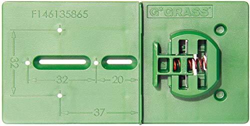 Gedotec Bohrschablone Topfband Bohrlehre Möbelscharnier GREEN JIG GRASS | Schablone für Lochreihe mit 32 mm Raster | MADE IN AUSTRIA | Kunststoff PVC grün | 1 Stück - Anreißlehre komfort