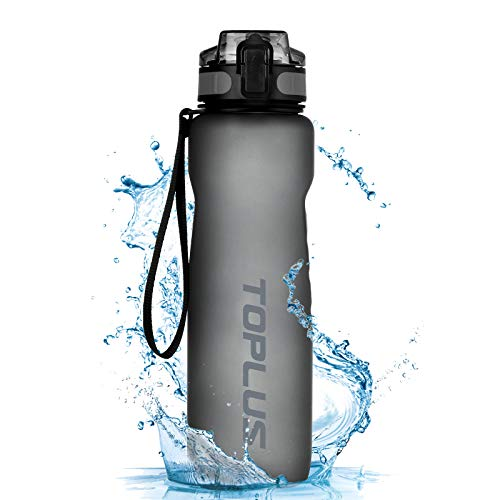 TOPLUS Sport Trinkflasche 1L Auslaufsicher Tragbare Sportflasche aus Kunststoff Wasserflasche Fahrradflasche für Kinder,Fahrrad, Schule,Camping Freien,Outdoor,Gym [BPA Frei Tritan] (Grau, 1000ML)