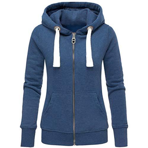 ESAILQ Mode Damen Hoodie Sweatshirt mit Kapuze Mantel Zipper Jacke(M,Schwarz)