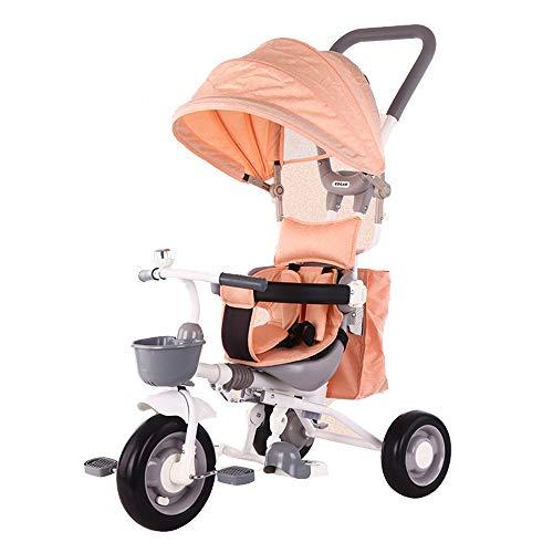 YumEIGE driewieler schuimschijf, koolstofstaal/stretch katoen, kinderwagen voor lagers 25 kg, aanbevolen hoogte van 31,4 inch tot 47,2 inch oranje