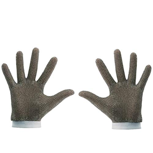 Schnittfeste Handschuhe-XHZ Schneidfeste Handschuhe Edelstahldraht Metallgitter Metzger Sicherheitsarbeitshandschuhe Zum Schneiden Und Schälen (Silber , Größe: XS, S, M