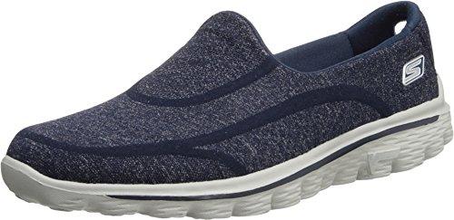 Skechers Go Walk 2 Super Sock Womens Walking Shoes Navy/Gray 9.5