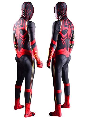 NVHAIM Body de superhroes Miles Morales, Spider-Men Cosplay Traje Lycra Traje de Halloween, Estreo 3D Mascarilla Roja (Nio Adulto),Women L