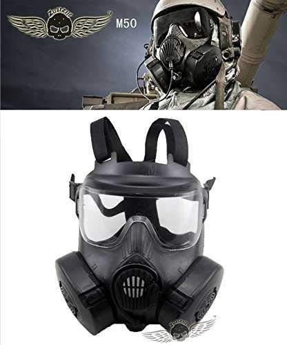 最新 US M50 ガスマスク 電動ファン 交換レンズ2枚付き 軍用 レプリカ サバイバルゲーム フルフェイス ゴーグル