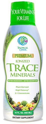 Tropical Oasis - Premium Ionized Plant Based Trace Minerals Liquid Formula- 74 essential minerals in liquid form for up to 96% Absorption - 16 oz, 32 servings