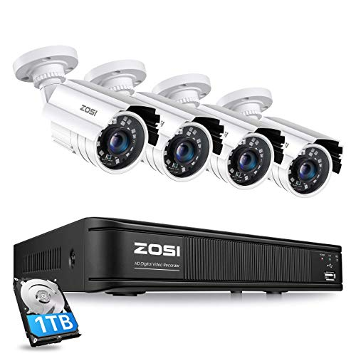 ZOSI H.265+ Full 1080p Home Security Camera System Outdoor Indoor, 5MP-Lite CCTV DVR 8 Channel with Hard Drive 1TB and 4 x 1080p Weatherproof Surveillance Camera with 80ft Night Vision, Motion Alerts