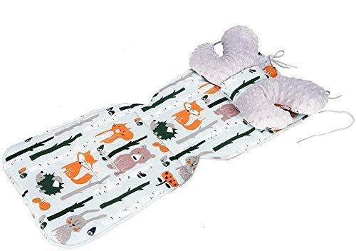 Sitzauflage MINKY Kinderwagen Buggy Sitzeinlage + Schmetterlingskissen NEU Kinderwagenset (Waldtiere/Grau)