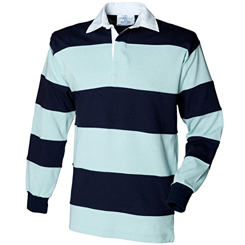 Front Row Sewn Stripe Long Sleeve Rugby Shirt Colour:Duck Egg/Navy Size:M