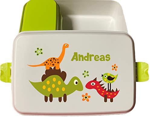 wolga-kreativ Brotdose Bio lustige Dino mit Obsteinsatz für Jungen Lunchbox Bento Box personalisiert Brotbüchse Brotdosen Kindergarten Schule mit Namen Bedruckt