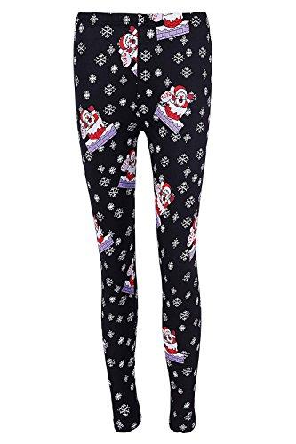 DREAGAL Christmas Santa Claus and Snowflake Print Leggings for Juniors Black X-Large