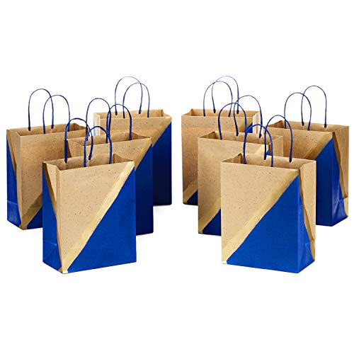 Hallmark 9' Medium Paper Gift Bags (Pack of 8 - Blue & Kraft) for Hanukkah, Birthdays, Weddings, Father's Day, Graduations, Baby Showers, Bridal Showers, Care Packages, May Day