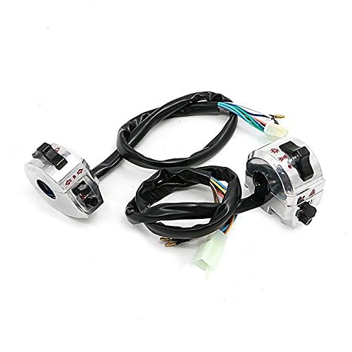 MNWYMCMFInterruptores universales de Barra de Manillar de Bicicleta de Motocicleta de 7/8'22 mm Indicador de Interruptor de luz de Control Izquierda Derecha,