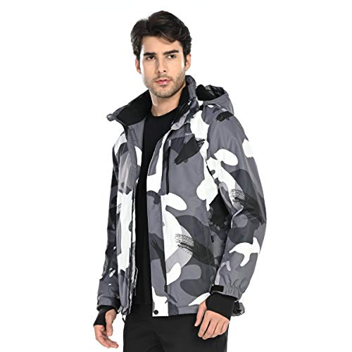 FREE SOLDIER Men's Waterproof Ski Snow Jacket Fleece Lined Warm Winter Rain Jacket with Hood(Camouflage,M)