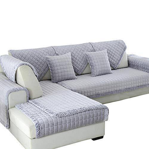 YUTJK Funda se Puede Empalmar de Sofá Funda para sofá Antideslizante Protector Cubierta de Muebles,Vendido por Pieza,Cojín de sofá de Franela Cuadrado Felpa Gruesa-Gris_110×180cm