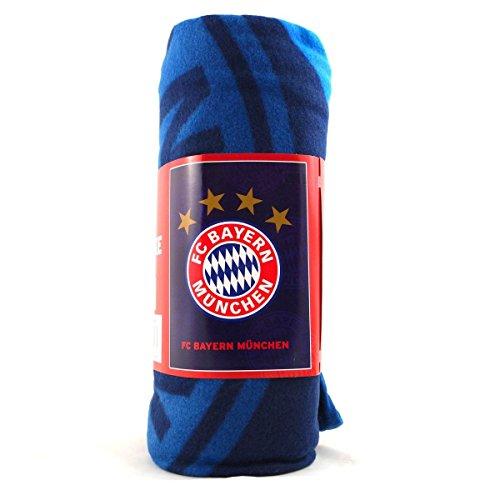 FC Bayern München Polarfleecedecke Logo mit Vier Sternen Größe ca. 150x200cm 100% Polyester
