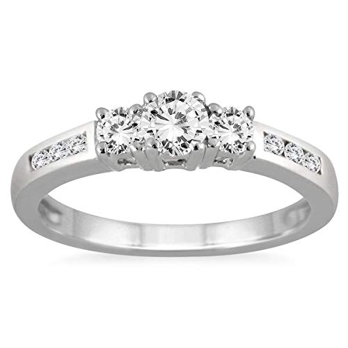 AGS Certified 1/2 Carat TW Diamond Three Stone Ring in 10K White Gold (K-L Color, I2-I3 Clarity)