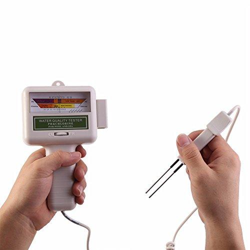 Hindotech PH CL2 Chlortester Wasserqualitätstester tragbar für Zuhause, Schwimmbad, Spa, Aquarium, pH-Messgerät