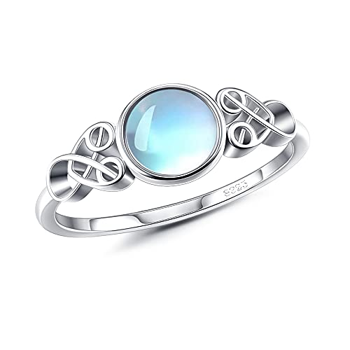 Fansilver Moonstone Ring Sterling Silver For Women Celtic Knot Ring Round Synthetic Moonstone Ring Victorian Style Dainty Ring For Engagement Anniversary Wedding Ring With Gift Box Size 9