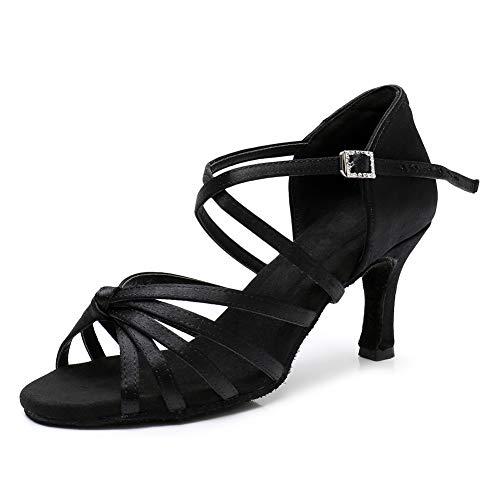 SWDZM Zapatos de Baile Latino para Mujer Seda Punta Abierta Salsa Tango Ballroom Practice Performance Zapatos de Baile,Tacón-2.76'',Negro,37.5EU/23.8CM