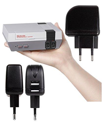 DURAGADGET Cargador con Enchufe Europeo para videoconsola Nintendo Mini Classic (de noviembre 2016) - con Doble Entrada USB