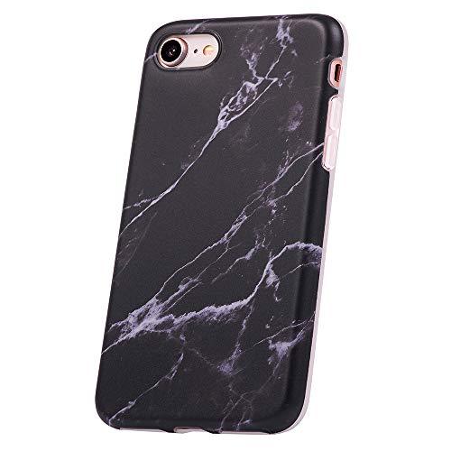 QULT Carcasa para Móvil Compatible con iPhone 6 Plus/ 6S Plus Funda marmol Negro Silicona Flexible Bumper Teléfono Caso para iPhone 6/6S Plus Marble Black