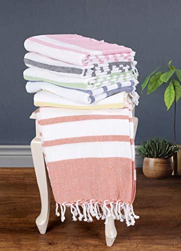 Toalla turca de algodón de 39 x 70 pulgadas, prelavada, diseño de rayas clásicas, toalla de playa Fouta, toalla de baño peshtemal grande, toalla de hammam, toalla de algodón, 2 unidades, color naranja