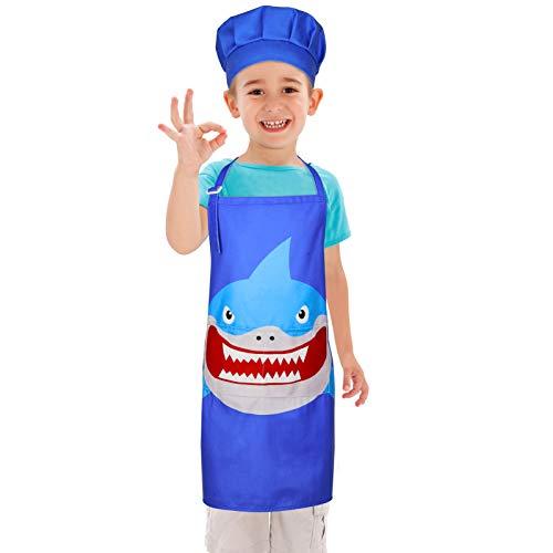 Beinou Delantal infantil ajustable con gorro de cocinero, delantal infantil con unicornio, tiburón con 2 bolsillos, regalo para niños, niñas, pintura, cocina, cocina