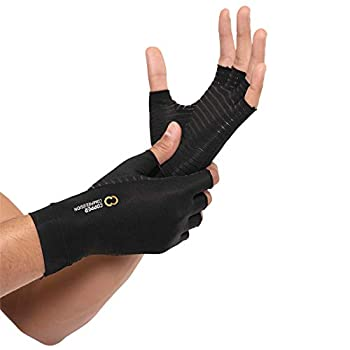 Copper Compression Arthritis Gloves - Guaranteed Highest Copper Content Best Copper Glove for Carpal Tunnel Computer Typing and Everyday Support for Hands Fit for Women and Men  1 Pair