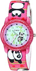 Adjustable pink 16mm elastic fabric strap fits up to 6-inch wrist circumference Easy-to-read blue dial with minutes marked for learning; fun rotating graphic as second hand Pink glitter-infused 28mm resin case with acrylic lens Timex Kids Loss Protec...