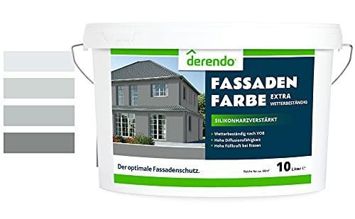 Derendo Fassadenfarbe grau 2,5l mit EXTRA hohem Wetterschutz, matte silikonharzverstärkte Fassaden Farbe, hohe Deckkraft und gute Füllkraft bei kleinen Rissen (Betongrau 25-47)