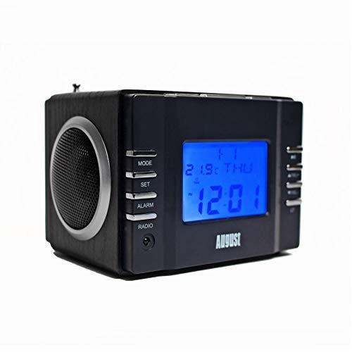 August MB300 - Radio FM MP3 y Alarma Despertador - Reproductor MP3 con Lector de Tarjetas SD, USB y Conexión Auxiliar