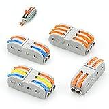 20 Stück Verbindungsklemme Set, Quick Kompakt Kabelverbinder SPL-2 3 Leiter Verkabelungsklemmen Klemmenblock Leiter-Klemme für Flexible und Starre Leiter, mit Hebel