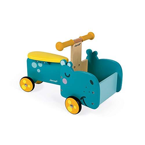 Janod J08003 Laufrad Nilpferd Mit Beweglichem Vorderteil (Holz), Blau/Gelb