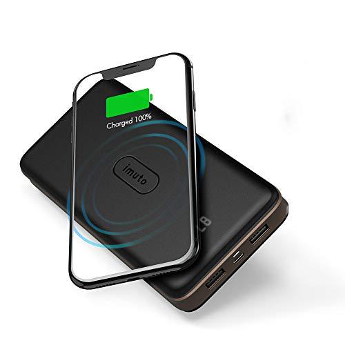 Powerbank 20000mAh, 10W Wireless Powerbank mit USB-C Ausgänge, Tragbare Externer Akku Pack mit LED-Digital Display, USB C Eingänge und 4 Ausgänge, kompatibel mit iPhone, Samsung, Huawei, iPad
