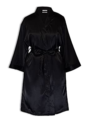 Goza Towels Women's Kimono Satin Robe, Solid Color, Short, Two Side Pockets