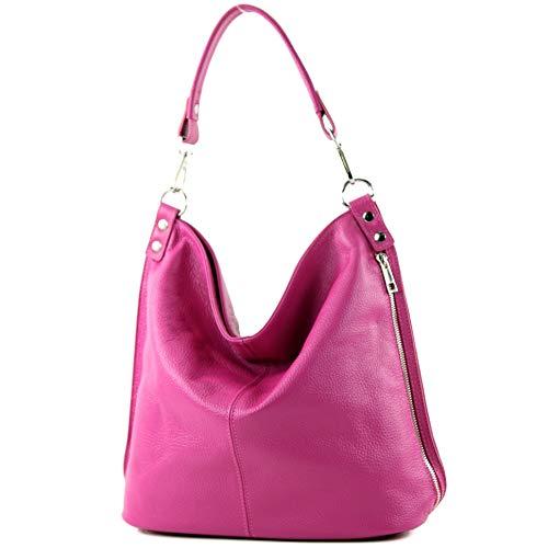 modamoda de - T177 - ital. Damen Schultertasche aus Leder, Farbe:Pink