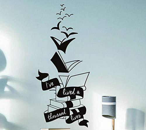 Terilizi Motivationele muur Decal Quote Inspirerende positieve boek Sticker Lezen Liefhebber in Stickers Lees meer boeken Schatten Mural-42X94Cm