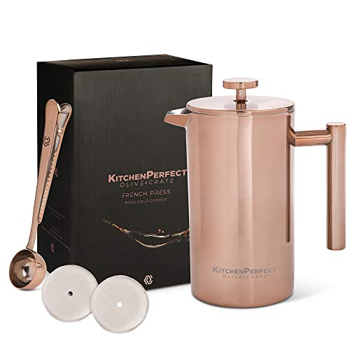 KitchenPerfect French Press Coffee Brewer, Measuring Spoon and Clip - Portable Coffee Maker For Travel - Double-wall Thermal Coffee Carafe, Stainless Steel Pot and Brewer, Copper Rose Gold, 34 oz