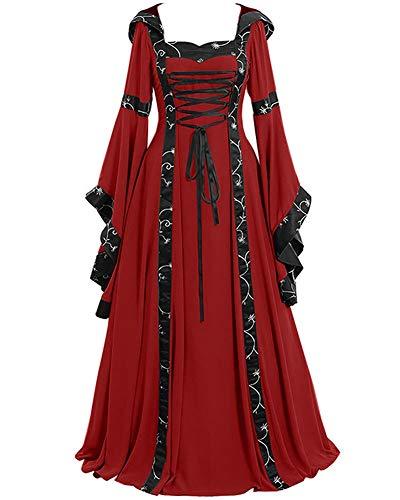 Guiran Vestido Vintage Mujer Medievales Disfraz Renacentista Cosplay De Halloween Rojo 4XL