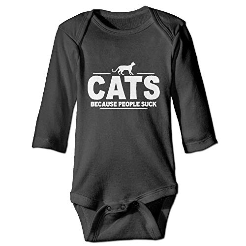 SDGSS Combinaison Bébé Bodysuits Cats Because People Suck Baby Boys Long Sleeves One-Piece Suit for 6-24m Baby