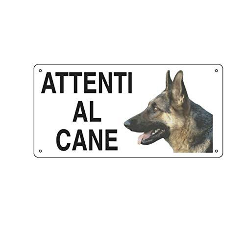 CARTELLO ALLUMINIO 25x12,5cm 'ATTENTI AL CANE'' CARTELLI SEGNALATORI