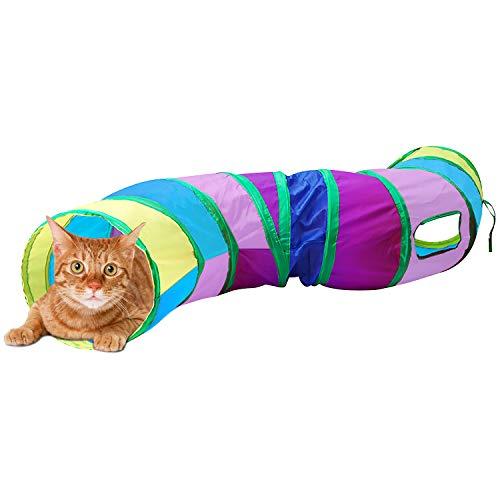 猫 おもちゃ 猫トンネル キャットトイ ネコ用品 水洗い可能 折りたたみ式 収納便利 S型 2穴付きキャットトンネル 長いネコトンネル 猫遊び ストレス発散 運動不足 対策 ペット玩具 ペット用品 (カラフル)