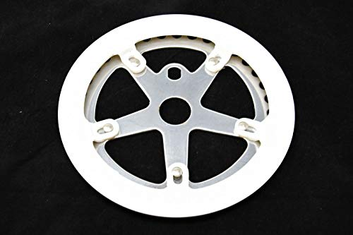Hard to find Bike Parts BMX CHAINRING 36 TEETH WITH WHITE CHAIN GUARD SUITABLE FOR CHILDRENS BIKES AS WELL AS MODERN OR OLD SCHOOL BMX CYCLES WITH OPC OR 3 PIECE BOTTOM BRACKET