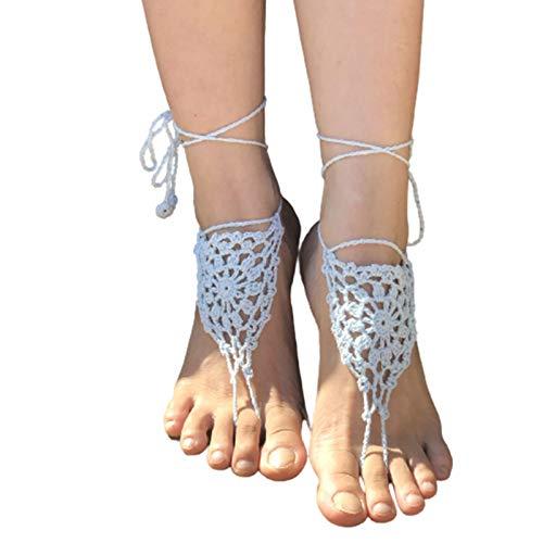 CAICAIL Mädchen Häkeln Barfuß Sandalen, Fußkettchen, Brautjungfernzubehör, Yoga-Schuhe, Fußschmuck, Pool Hochzeit Zubehör,A,One Size