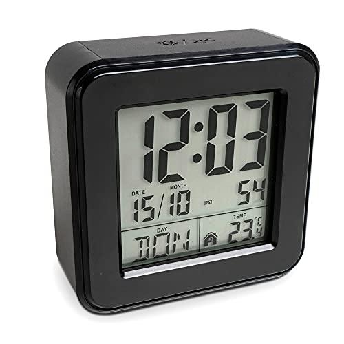 Mebus 25595 Funkwecker kompakt, quadratisch mit Thermometer/Farbe: Weiß/Modell: 25595, Normal, schwarz, 100 g