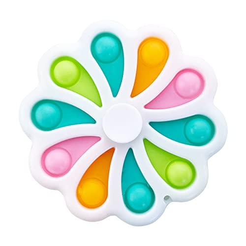 AURSTORE Jouets Spinner Anti-Stress - Fidget Toy- Pop Bubble - Jouets Sensoriels à Presser en Silicone pour la Concentration et Le Calme it (Spinner Blanc)