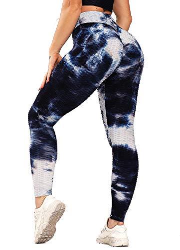 INSTINNCT Damen Slim Fit Hohe Taille Sportshort Lange Leggings mit Bauchkontrolle Blau Mix Weiß S