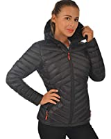 Lesmart Women Down Puffer Jacket Hooded Lightweight Packable Winter Warm Outerwear Short Coat Black S